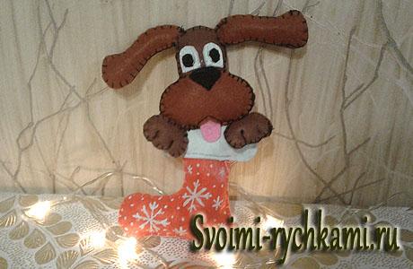 собака в рождественском носке