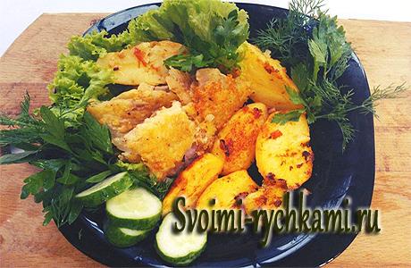 жареная рыба с картофелем